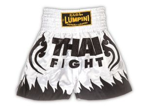 "SPODENKI TAJSKIE LUMPINEE LSH162 (white/black) ""THAI FIGHT"""