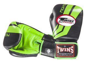 "RĘKAWICE BOKSERSKIE TWINS FBGV-43 (black/green pattern) ""FIGHTING SPIRIT"""