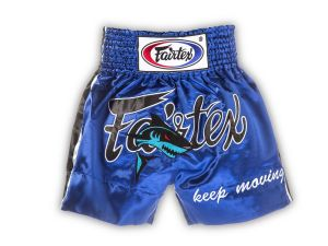 "SPODENKI TAJSKIE FAIRTEX BS0645 (blue/black) ""Blue Shark Keep Moving"""