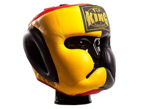 "KASK BOKSERSKI SPARINGOWY TOP KING TKHGEC-LV (523) ""EXTRA COVERAGE"" (yellow/black/red)"