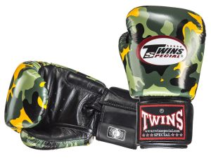 RĘKAWICE BOKSERSKIE TWINS SPECIAL FBGV-ARMY-Y (green/yellow/black)