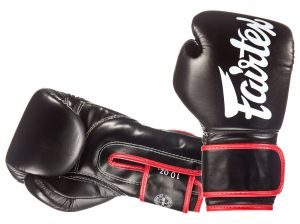 "RĘKAWICE BOKSERSKIE FAIRTEX BGV14 (black/red piping) ""Microfiber"""