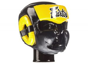"KASK BOKSERSKI SPARINGOWY FAIRTEX HG13 (black/yellow) ""Diagonal Vision Sparring"""