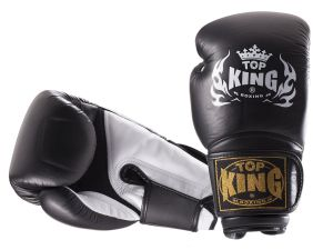 "RĘKAWICE BOKSERSKIE TOP KING TKBGSA ""SUPER AIR"" (122) (black/white)"