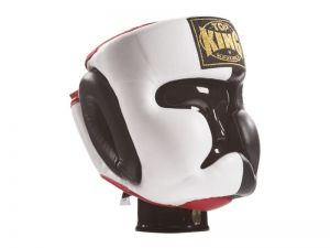 "KASK BOKSERSKI SPARINGOWY TOP KING TKHGEC-LV (123) ""EXTRA COVERAGE"" (black/white/red)"
