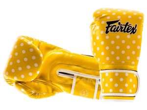 "RĘKAWICE BOKSERSKIE FAIRTEX BGV14YP ""VINTAGE ART - POLKA DOT"" (yellow/white DOT)"