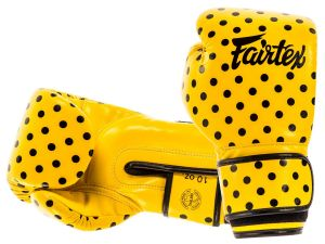 "RĘKAWICE BOKSERSKIE FAIRTEX BGV14YP ""VINTAGE ART - POLKA DOT"" (yellow/black DOT)"