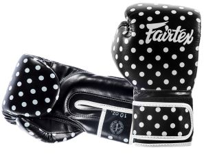"RĘKAWICE BOKSERSKIE FAIRTEX BGV14BP ""VINTAGE ART - POLKA DOT"" (black/white DOT)"