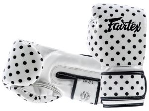 "RĘKAWICE BOKSERSKIE FAIRTEX BGV14WP ""VINTAGE ART - POLKA DOT"" (white/black DOT)"
