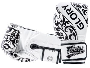 "RĘKAWICE BOKSERSKIE FAIRTEX BGVG2 ""GLORY"" (white/black piping)"