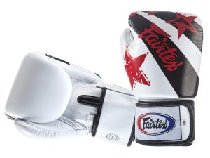 "RĘKAWICE BOKSERSKIE FAIRTEX BGV1-N (white/black) ""Nation Print"""