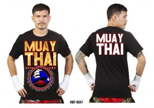 "KOSZULKA MUAY THAI MT-8047 ""Spirit of Fight"" - bawełna ECO"