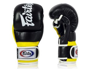 "RĘKAWICE MMA FAIRTEX FGV18 ""Super Sparring"" (black/yellow/white piping)"