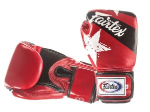 "RĘKAWICE BOKSERSKIE FAIRTEX BGV1-N (red/black) ""Nation Print"""