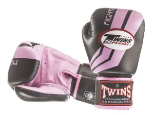 "RĘKAWICE BOKSERSKIE TWINS SPECIAL FBGV-43 (black/pink pattern) ""FIGHTING SPIRIT"""