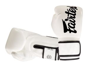 "RĘKAWICE BOKSERSKIE FAIRTEX BGV14 (white/black piping) ""Microfiber"""