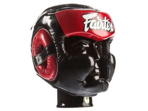 "KASK BOKSERSKI SPARINGOWY FAIRTEX HG13 (black/red) ""Diagonal Vision Sparring"""