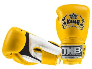 "RĘKAWICE BOKSERSKIE TOP KING TKBGSA ""SUPER AIR"" (155) (white/yellow/yellow)"