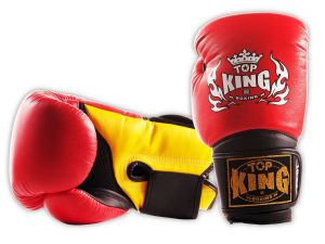"RĘKAWICE BOKSERSKIE TOP KING TKBGSA ""SUPER AIR"" (532) (red/black/yellow)"